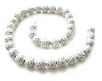 White Howlite Turquoise 12mm Round Beads - 16 inch strand