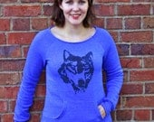 Gift for Women, Wolf Sweatshirt, Blue Organic Cotton Pullover, Yoga Pullover, lounge top, off shoulder top