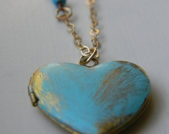 Heart ~ Locket ~ Painted Locket ~ Patina Turquoise ~ Locket Necklace ~ Swarovski Crystal ~ Mothers Day ~ Wedding ~ Bridal ~ Bridesmaid ~