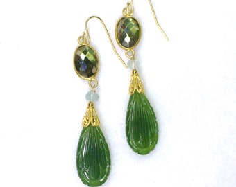Very Fine Hand Carved Nephrite Jade, Pyrite Drop Earrings in Gold...