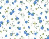 HALF YARD - Blue Strawberries & Apples on White/Cream 31282-70 - Retro 30s Child Smile Collection Lecien - Cherries, Red Cherry, Flower