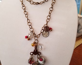 Vacuum Tube Necklace Recycled Mixed Media free shipping in the USA