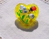 Sunny Yellow Heart with Ladybug Czech Glass Button