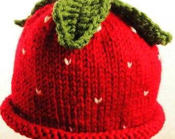 Strawberry Baby Hat - Custom Knit