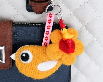 Bag charm key fob keyring knit needle felted yellow birdie bird flower beads