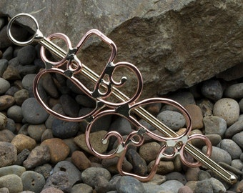 Copper music note hair barrette