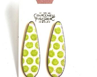 Chartreuse and Cream Enamel Stud Earrings