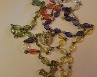 SALE Vintage Rosary Multi-Colored Unique Stones Purple Pink, Crucifix