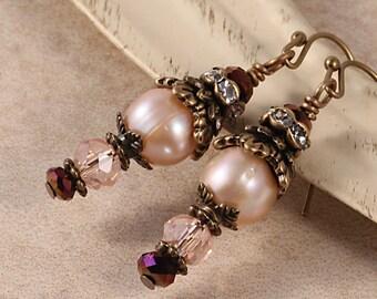 Vintage Victorian Brass Earrings, Glass Rose Pink Wine, Freshwater Pearls, Crystal Rhinestone, Antique Decorative, Chunky Drop Earrings EVIN