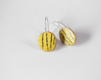 Colorful Yellow Earrings - Geometric Design - Glass Enamel  OOAK