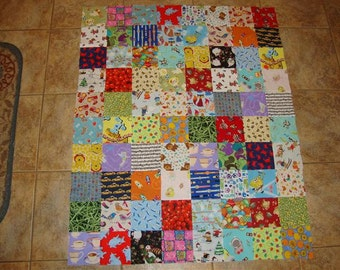 Unfinished, Deluxe I Spy Quilt Top-- Matching Game Pairs!