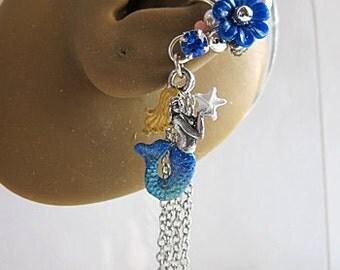 Mermaid Ear Cuff - Mermaid Earrings - Mermaid Jewelry - Nautical Ear Cuff - Nautical Earrings - Ocean Ear Cuff - Ocean Earrings - Dangle