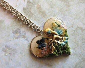 Magical Love Fairy Necklace VII Butterfly Sitting Fae Fay Faerie Realm Fantasy Mystical Magical Nature Flowers Enchanted Pendant