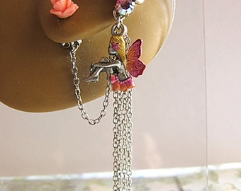 Fairy Ear Cuff, Pink Fairy Jewelry, Pink Fairy Earrings, Pink Ear Cuff, Pink Fantasy Earrings, Fairytale Earrings, Enchanted Fairy Jewelry
