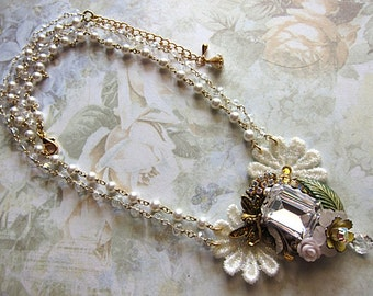 Mystical Clear Crystal Fairy Necklace Fae Faerie Fay Faery Fantasy Gold Princess Jewelry Gentle Soothing Focal Pendant Statement White