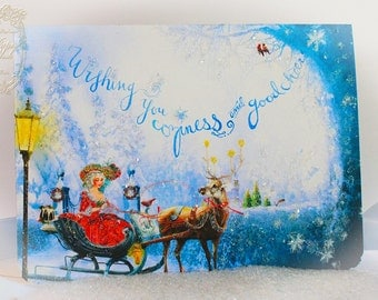 Christmas Cards Coziness and Good Cheer 5 x 7 Christmas Card Set of 6 with Shimmering Snow White Envelopes and Seals