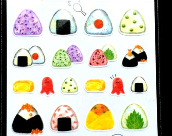 Japanese Food Stickers - Onigiri  Stickers - Chiyogami Paper Stickers S256