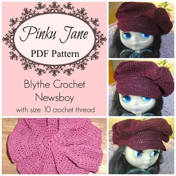 Crochet Hat Pattern For Blythe : PDF Blythe Crochet Newsboy Hat Pattern Downloadable using size