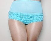 Vintage Teal Ruffle Underwear - High waisted Underwear- Plus Size underwear Vintage- Plus Size Halloween Costume - Teal Ruffle Panties XL