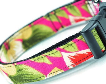Floral Dog Collar - Adjustable M-L Dogs - Pink And White Dog Collar - Made In Chicago - Handmade Dog Collar - Green Collar