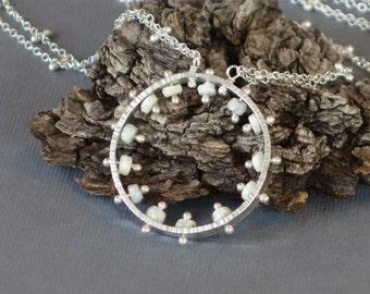 White Sapphire Metalwork Pendant, Spoke Pendant, Double Chain,