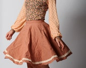 Dusty pink skirt, Full skirt, Very flared pink skirt, Crumpled cotton skirt with lace trim, Your size