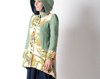 Green hooded coat, womens winter coat, Green and salmon floral patchwork coat with round hood, Green & peach wasptail coat, Upcycled fashion