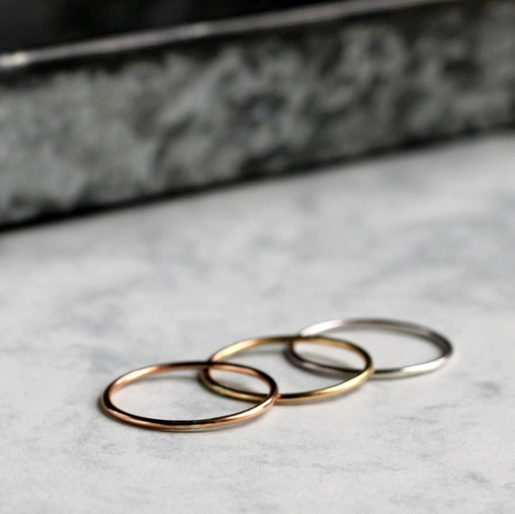 Ombre Skinny Stacking Ring Set - sterling silver, gold fill, rose gold fill