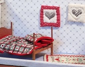Miniature Christmas dollhouse quilt red green