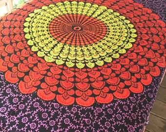 Boho Hippie Tapestry Fabric Colorful Starburst Pattern - Basic Black