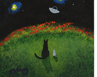 Black Cat Mouse folk art PRINT of Todd Young painting Spaceship