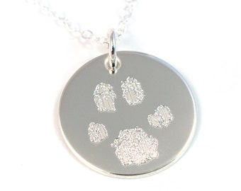 Pawprint Necklace with Your Pet's Actual Paw Print - Paw Print Necklace - Sterling Silver Pet Necklace - Pawprint Necklace - Pet Memorial