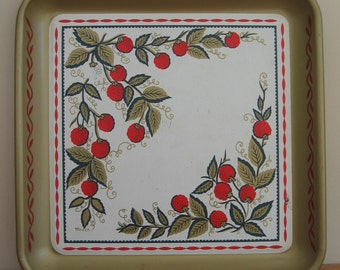 Maxey metal tray raspberries square gold red