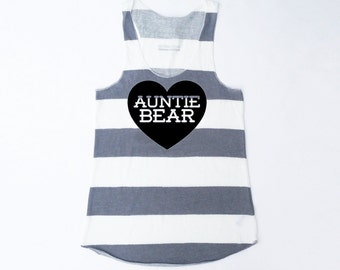 Auntie Bear with Heart Heather Grey and White Stripe Racerback Tank with Black Print - Gift for Sister, Expecting, Photos, Announcement