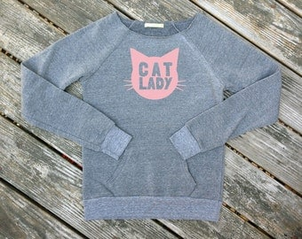 Cat Lady Heather Grey Sweatshirt with Pink print - Gift for Her, Cat Mom, Cat Lover, Animal Lover, Kitty Fan, Meow, Cat Crazy