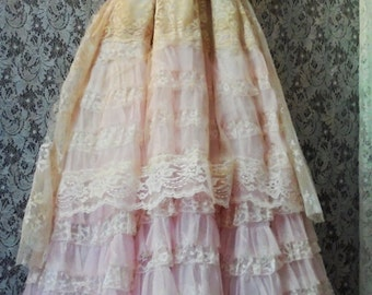 Blush lace dress  tulle ruffles crinoline  boho wedding  vintage  bride outdoor  romantic small by vintage opulence on Etsy