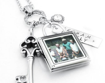 Silver Photo Jewelry - Photo Pendant - Family Photo - Legacy Necklace - Lock and Key Jewelry