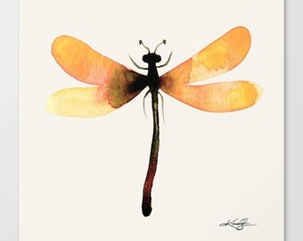 Yellow Dragonfly Painting, Large Giclee Canvas Art Print from Original watercolor painting by Kathy Morton Stanion  EBSQ