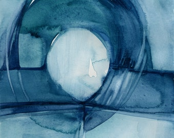 """Abstract Teal, Indigo Blue Zen Watercolor Painting, Serene, Peaceful, Tranquil, Original """"Finding Tranquility 8""""  Kathy Morton Stanion EBSQ"""