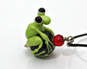 Shelby the Handmade Glass Frog Bead Pendant in Green and Black with Red