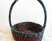 Dark Forest Green Floral Round Rag Basket