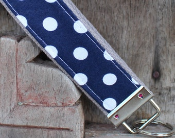 Key Chain-Key Fob-Wristlet- Navy With White Dots On Gray-READY TO SHIP