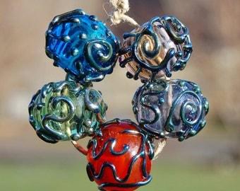 Triton Gems....5 Hollow Decorated Lampwork Beads...K O Lampwork