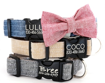 Personalized Bow Tie Dog Collar with Laser Etched Plastic Buckle