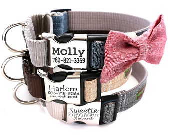 Personalized Martingale Dog Collar with Optional Bow Tie