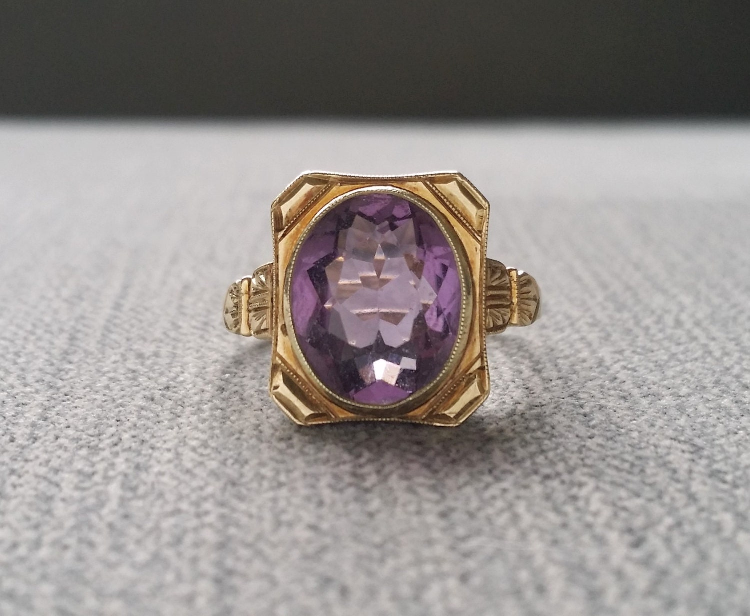 antique amethyst engagement ring oval cut 1800s bohemian boho