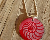 Handmade Copper Enamel Ammonite Necklace, Copper Enamel Circle, Enamel on Copper Ammonite Fossil Pattern Necklace, Soft White on True Red