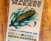 FARMERS MARKET CORN Hand Printed Letterpress Poster