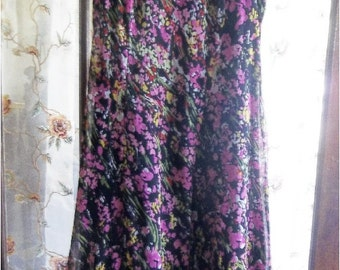 Dress, Bohemian, Boho Chic Maxi, Gypsy, Upcycled, Recycled, Hippie Dress Eco Friendly, Women's, Teen, Pink, Black Floral, Petite Sz.4 Small