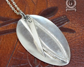 Mystic 1926 Pattern Flattened Spoon Pendant - Handmade by Doctorgus from Vintage Silverware - Repurposed Upcycled Jewelry Art Deco Style